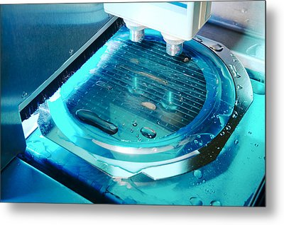 Mems Production, Wafer Cutting Metal Print by Colin Cuthbert