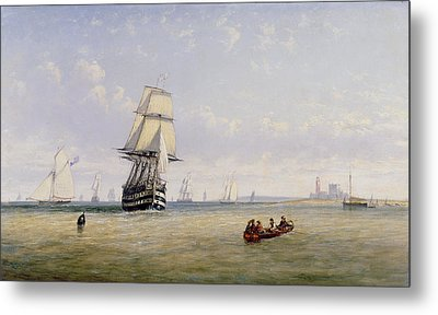 Meno War Schooners And Royal Navy Yachts Metal Print by Claude T Stanfield Moore