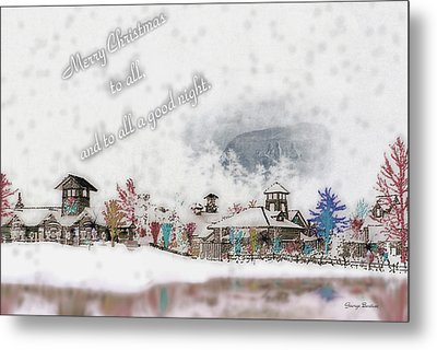 Merry Christmas - Stone Mountain Snowfall Art 4x6  Metal Print by George Bostian