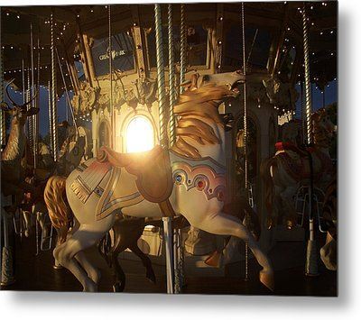 Merry Go Round At Sunset Metal Print by Steve Huang