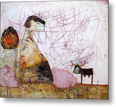 Mess Is Thinking.... Metal Print by Apple Vail