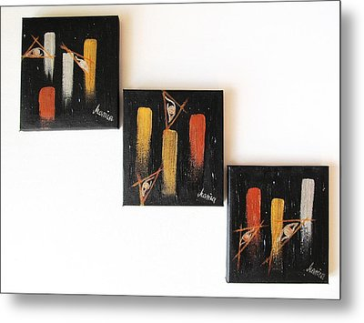 Message From The Future - Set Of 3 Metal Print by Marianna Mills