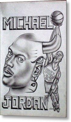 Michael Jordan Double Exposure Metal Print by Rick Hill