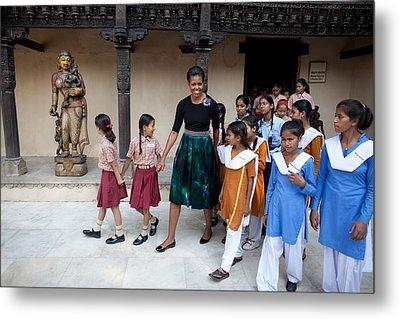 Michelle Obama Accompanied By Children Metal Print by Everett