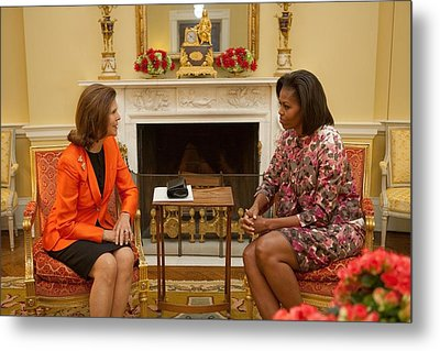 Michelle Obama And Queen Silvia Metal Print by Everett
