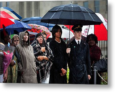 Michelle Obama Attends A Wreath Laying Metal Print by Everett