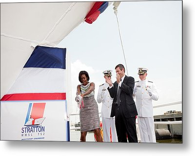 Michelle Obama Christens The Us Coast Metal Print by Everett