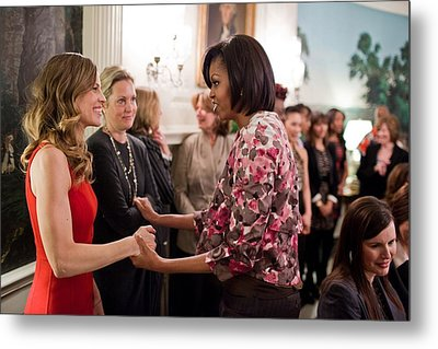 Michelle Obama Greets Actress Hilary Metal Print by Everett