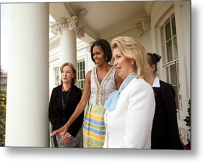 Michelle Obama Hosts First Lady Metal Print by Everett