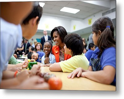 Michelle Obama Joins Students Metal Print by Everett