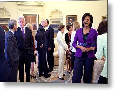 Michelle Obama Laughs With Guests Metal Print by Everett