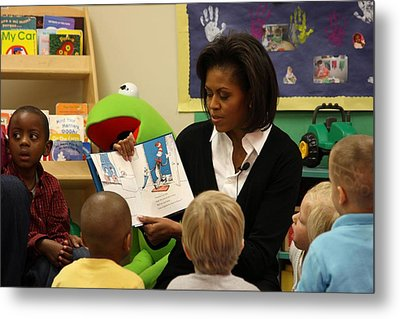 Michelle Obama Reads The Cat In The Hat Metal Print by Everett