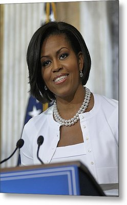 Michelle Obama Visited The Treasury Metal Print by Everett