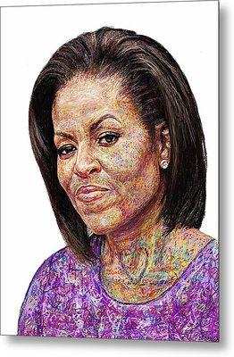 Michelle Obama With An Ipad Metal Print by Edward Ofosu