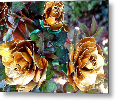 Midas Touch Duck Tape Roses Metal Print by Laura  Grisham