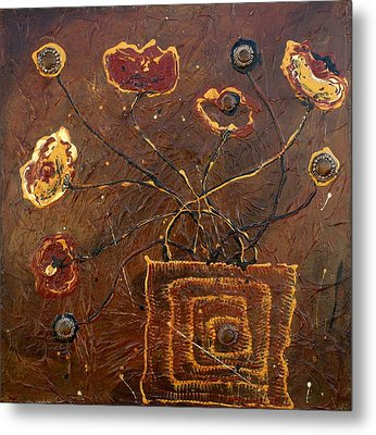 Midnight Poppies Metal Print by Victoria  Johns