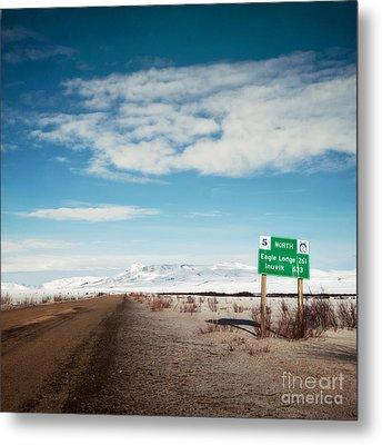Milepost At The Dempster Highway Metal Print by Priska Wettstein