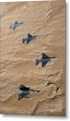 Military Fighter Jets Fly In Formation Metal Print by Stocktrek Images