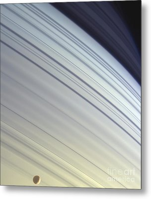 Mimas Drifts Along In Its Orbit Metal Print by Stocktrek Images