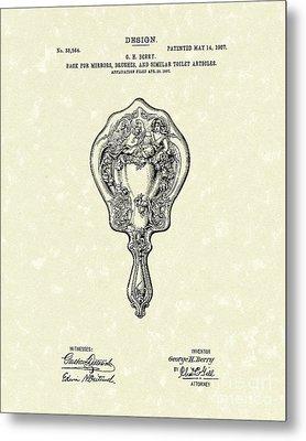 Mirror Back Design I I I 1907 Patent Art  Metal Print by Prior Art Design