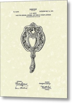 Mirror Back Design II 1907 Patent Art Metal Print by Prior Art Design