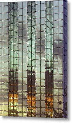 Mirrored Building Metal Print by Mark Greenberg