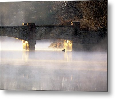 Misty Bridge Sunrise Metal Print by Vicki Jauron
