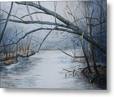 Misty Morning On The Red River Metal Print by Patsy Sharpe