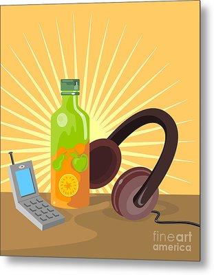 Mobile Phone Soda Drink Headphone Retro Metal Print by Aloysius Patrimonio