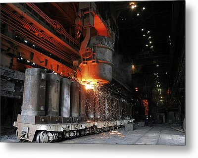 Molten Metal Being Poured Into Vats Metal Print by Ria Novosti