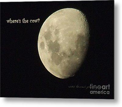 Moon Missing Cow Metal Print by Vicki Ferrari