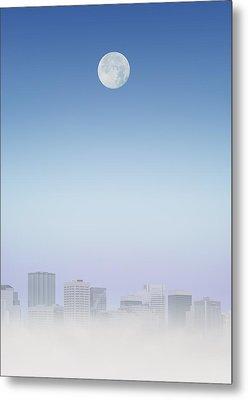 Moon Over Buildings Metal Print by Kelly Redinger