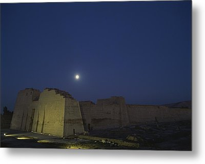 Moon Over Medinet Habu, The Temple Metal Print by Kenneth Garrett