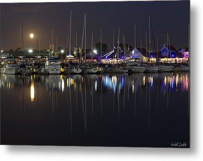 Moon Over The Marina Metal Print by Heidi Smith