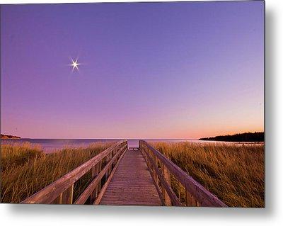 Moonlit Boardwalk At Beach Metal Print by Nancy Rose