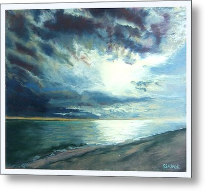 Moonlit Sea Metal Print by Sue Gardner
