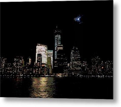 Moonrise Over Freedom Tower Metal Print by Lewis Mengersen