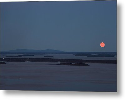 Moonrise Over Penobscot Bay And Acadia National Park From Camden Hills Metal Print by John Burk