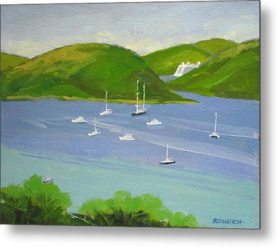 Moored Boats In Charlotte Amalie Bay Metal Print by Robert Rohrich
