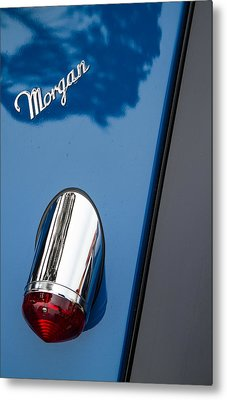 Morgan Plus 8 Taillight And Name Badge Metal Print by Roger Mullenhour