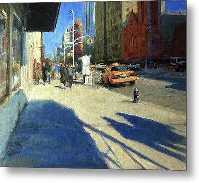 Morning Shadows On Amsterdam Avenue  Metal Print by Peter Salwen