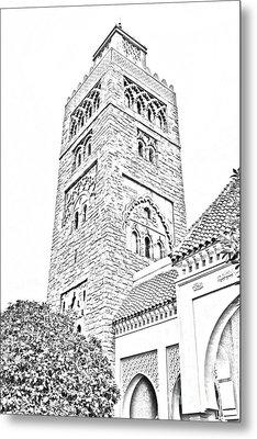 Morocco Pavilion Minaret Epcot Walt Disney World Prints Black And White Line Art Metal Print by Shawn O'Brien