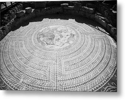 Mosaics On The Floor Of The House Of Theseus Roman Villa At Paphos Archeological Park Cyprus Metal Print by Joe Fox