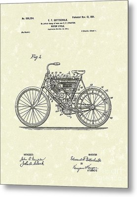 Motorcycle 1901 Patent Art Metal Print by Prior Art Design