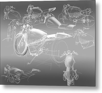 Motorcycle Concept Sketches Metal Print by Jeremy Lacy