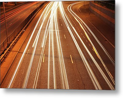 Motorway Light Trails Metal Print by Richard Newstead