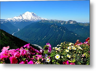Mount Rainier Seen From Crystal Mountain Summit Metal Print by Tanya  Searcy