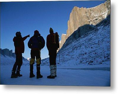 Mountain Climbers On Frozen Stewart Metal Print by Gordon Wiltsie