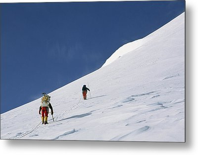 Mountain Climbers Use Safety Ropes Metal Print by Gordon Wiltsie
