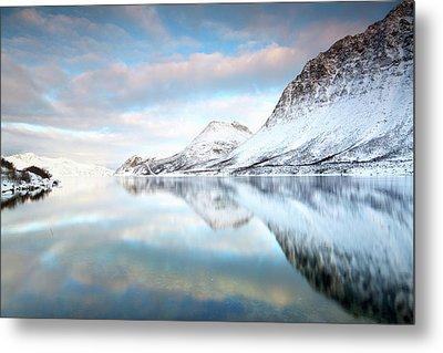 Mountains In Fjord Metal Print by Sandra Kreuzinger